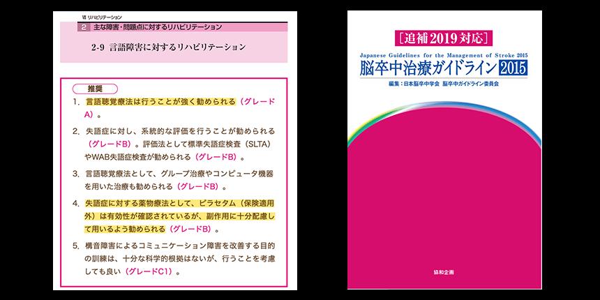 左図:脳卒中治療ガイドライン「2-9言語障害に対するリハビリテーション」 右図:脳卒中治療ガイドライン2015